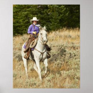 Jinete de lomo de caballo 20 póster