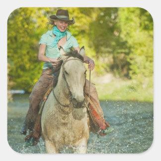 Jinete de lomo de caballo 21 pegatina cuadrada
