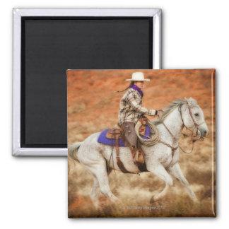 Jinete de lomo de caballo 2 iman de nevera