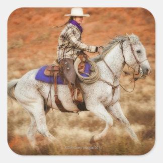 Jinete de lomo de caballo 2 pegatina cuadrada