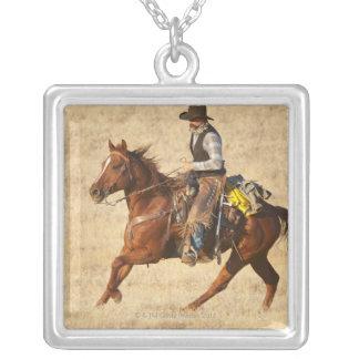 Jinete de lomo de caballo 8 collar plateado