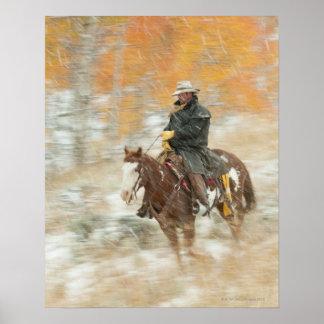 Jinete de lomo de caballo en lluvia póster
