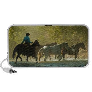 Jinete de lomo de caballo que reúne caballos mini altavoces