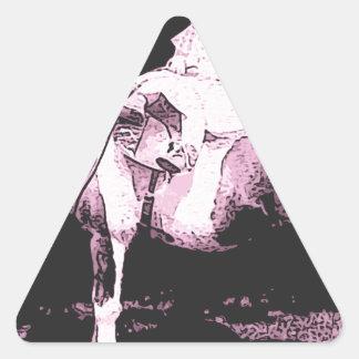 jinete del boxeador pegatina triangular