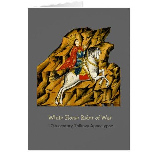 Jinete del caballo blanco tarjeta de felicitación