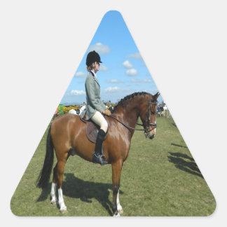jinete del caballo listo para el éxito siguiente pegatina triangular
