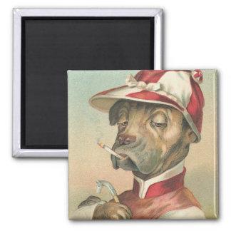 Jinete del perro del vintage imán cuadrado