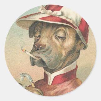 Jinete del perro del vintage pegatina redonda