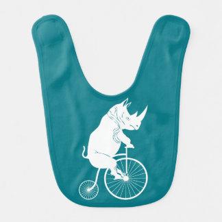 Jinete del rinoceronte en la bici del vintage baberos de bebé