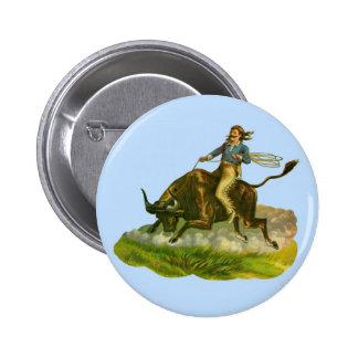 Jinete del toro del vaquero del Victorian Pin Redondo De 2 Pulgadas