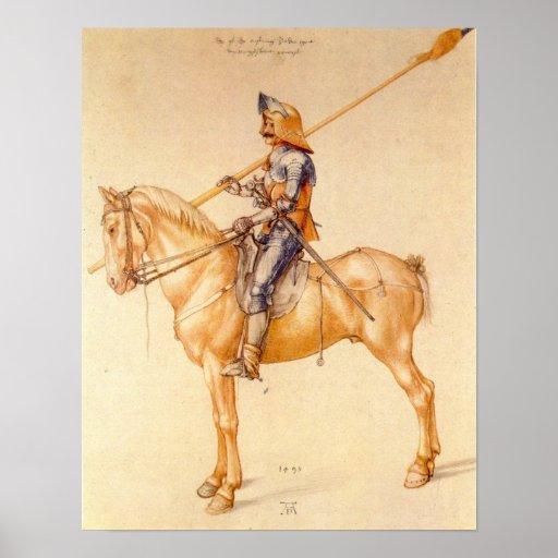 Jinete en la armadura de Albrecht Durer Póster