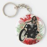 Jinete femenino de la motocicleta llaveros personalizados