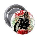 Jinete femenino de la motocicleta pins