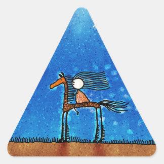 Jinete fresco abstracto del dibujo animado pegatina triangular