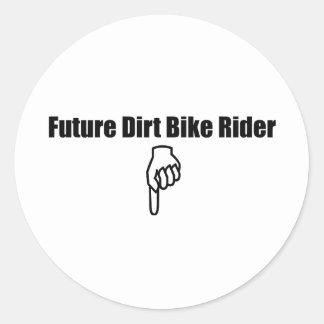 Jinete futuro de la bici de la suciedad pegatina redonda
