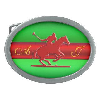 Jinete grabado en relieve monograma del polo, meta hebilla de cinturon