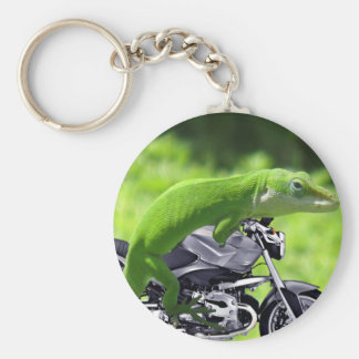 Jinete hawaiano verde del Gecko Llavero Redondo Tipo Pin
