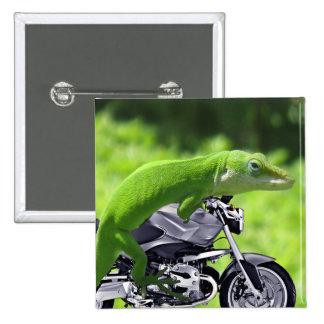 Jinete hawaiano verde del Gecko Pin Cuadrado