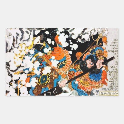 Jinete legendario oriental fresco del caballo del pegatina rectangular
