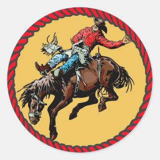 Jinete occidental del Bronc del rodeo del pegatina