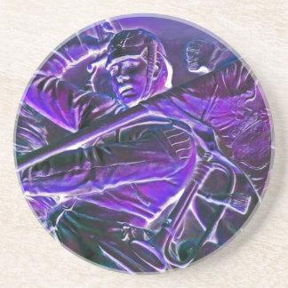 Jinete prusiano, montado con la bandera en púrpura posavaso para bebida