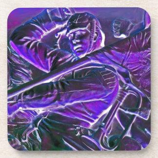 Jinete prusiano, montado con la bandera en púrpura posavasos de bebida