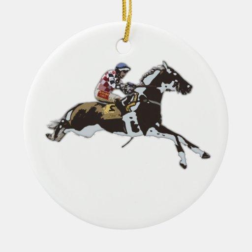 Jinete que compite con en un caballo adorno navideño redondo de cerámica