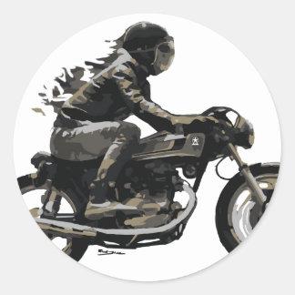 Jinete rápido de Motorcyle del corredor del café Pegatina Redonda
