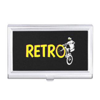 Jinete retro de la bici de montaña caja de tarjetas de visita
