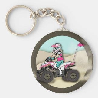 Jinete rosado y negro del chica ATV Llaveros Personalizados