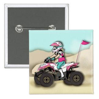 Jinete rosado y negro del chica ATV Pin
