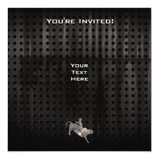 Jinete rugoso de Bull Invitación 13,3 Cm X 13,3cm
