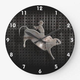 Jinete rugoso de Bull Reloj Redondo Grande