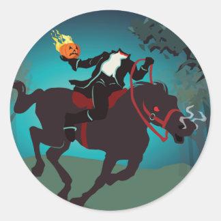 Jinete sin cabeza de Halloween Pegatina Redonda