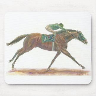 Jinete verde del aand del caballo de Raace Alfombrillas De Raton