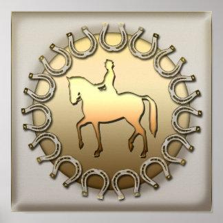 Jinete y herraduras del caballo del Dressage Póster
