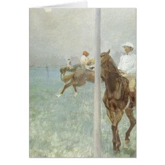 Jinetes ante la raza de Edgar Degas Tarjeta De Felicitación