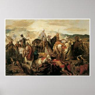 Jinetes árabes que reclaman a sus muertos, 1850 póster