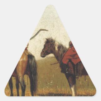 Jinetes chinos de Vasily Vereshchagin Pegatina Triangular