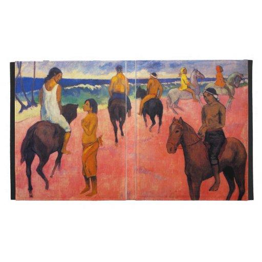 Jinetes de Gauguin en el caso del iPad de la playa