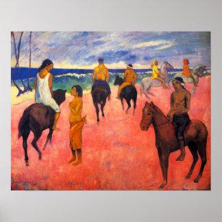 Jinetes de Gauguin en el poster de la playa