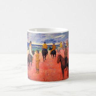 Jinetes de Gauguin en la taza de la playa