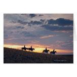 Jinetes de lomo de caballo en la puesta del sol 2 tarjeta de felicitación