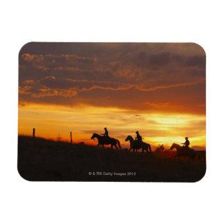 Jinetes de lomo de caballo en la puesta del sol imán flexible