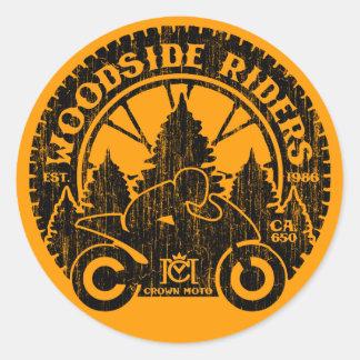 Jinetes de Woodside (negro del vintage) Pegatina Redonda