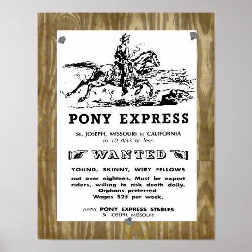 Jinetes del oeste salvajes de Pony Express Póster