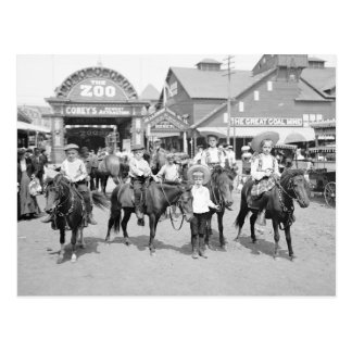 Jinetes del potro en Coney Island, 1904 Postal