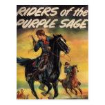 Jinetes del sabio púrpura postal