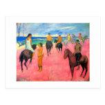 Jinetes en arte de los caballos de los jinetes de  postales
