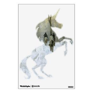 Jinetes en la etiqueta de la pared del unicornio